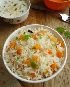 carrot pulao recipe, indian carrot pulav recipe, gajar ka pulao