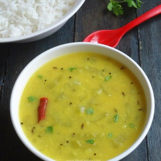 Snake Gourd Moong Dal Curry recipe - easy and healthy Indian style lentils and snake gourd vegetable curry.