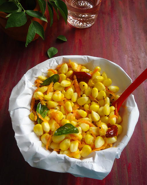Sweet Corn Sundal recipe - a quick and easy South Indian spiced sweet corn snack. Healthy and delicious. vegan.