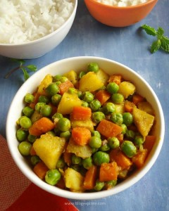 aloo gajar matar sabzi recipe, North Indian style potato carrot and peas dry curry