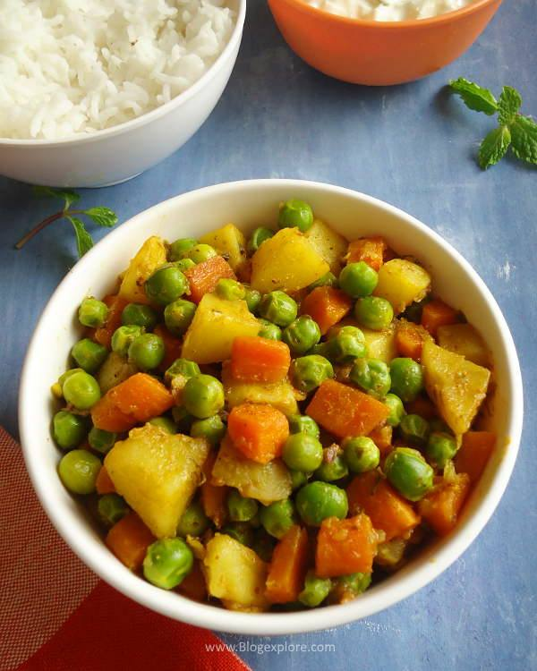 aloo gajar matar sabzi recipe, North Indian style potato carrot and peas dry curry