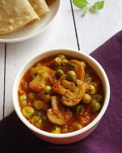 matar mushroom, mushroom peas curry recipe