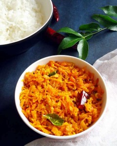 carrot poriyal recipe, south indian carrot stir fry recipe