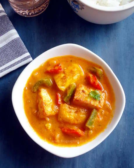paneer capsicum masala recipe, indian cottage cheese bell peppers masala curry