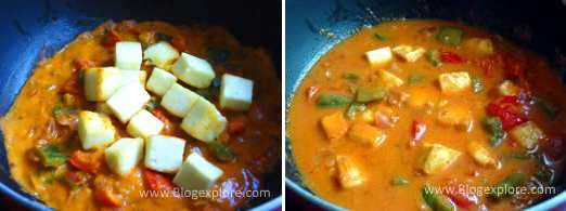 adding paneer for paneer capsicum masala recipe