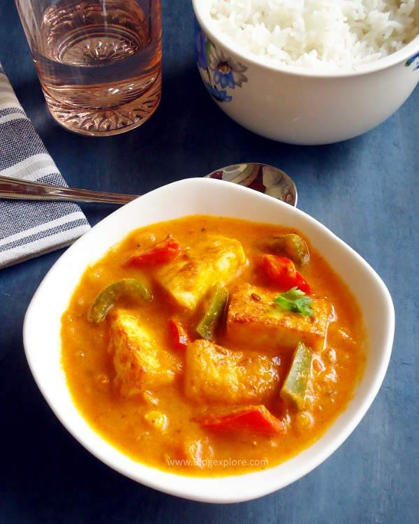 paneer capsicum masala recipe, indian cottage cheese bell peppers masala