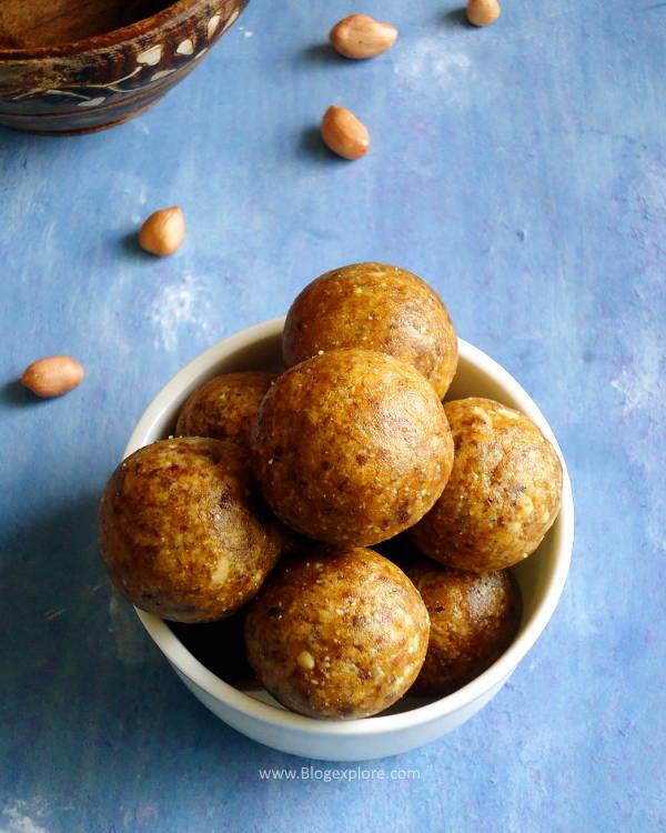 peanut ladoo recipe - a quick and easy Indian sweet using peanuts.
