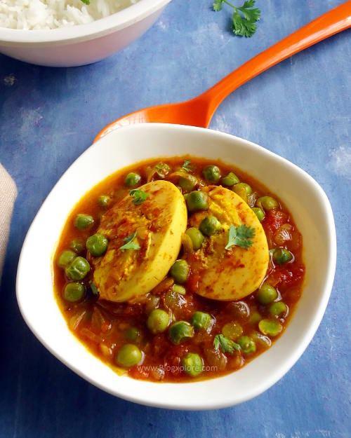 egg and peas curry recipe, anda matar curry recipe