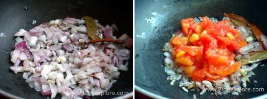 adding onions and tomatoes for egg and peas curry recipe