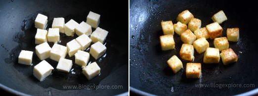 cooking paneer cubes for paneer salad recipe