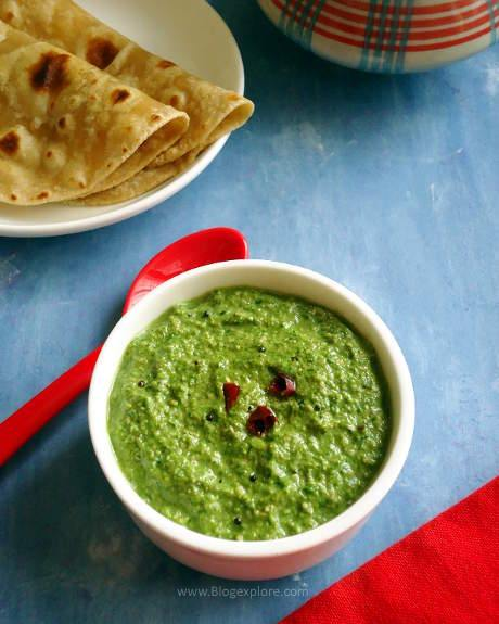 palak chutney recipe, spinach chutney recipe