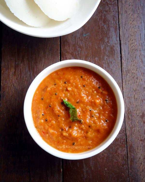 onion tomato chutney recipe - spicy and tangy South Indian chutney