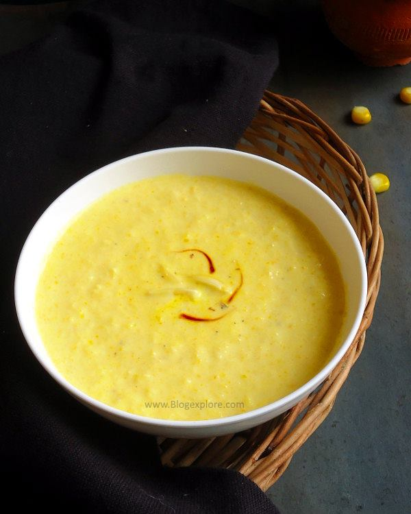 sweet corn kheer recipe - easy and delicious Indian style creamy sweet corn dessert