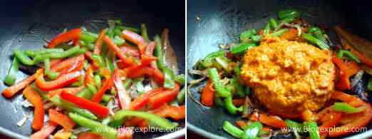 adding bell peppers and masala paste for capsicum rice recipe