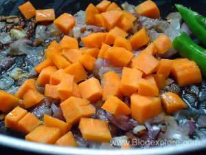 adding carrots for indian style egg fried rice