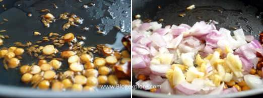 adding dal and onions for red bell pepper chutney recipe