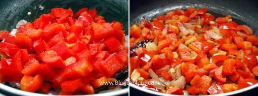 frying red capsicum for red bell pepper chutney recipe