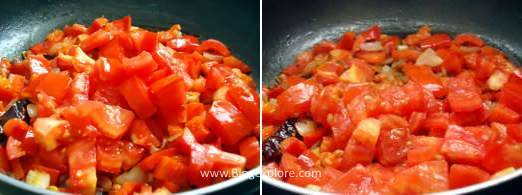 frying tomatoes for red bell pepper chutney recipe