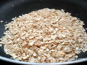added oats in pan for curd oats