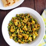 gobi matar recipe, cauliflower and peas dry curry recipe