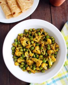 gobi matar recipe, gobi matar ki sabzi, indian cauliflower peas dry curry recipe