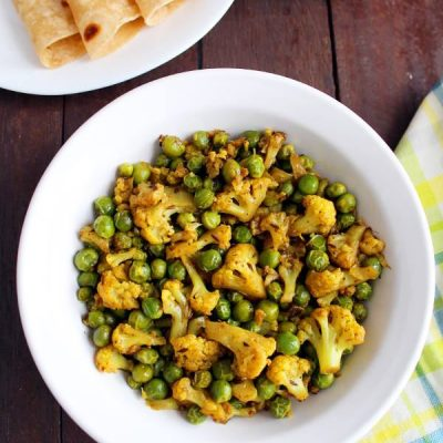 Gobi Matar Recipe   Cauliflower Peas Dry Curry