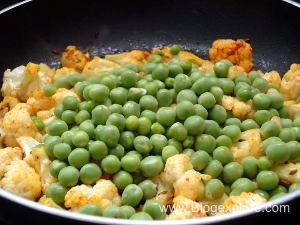 adding peas to make gobi matar