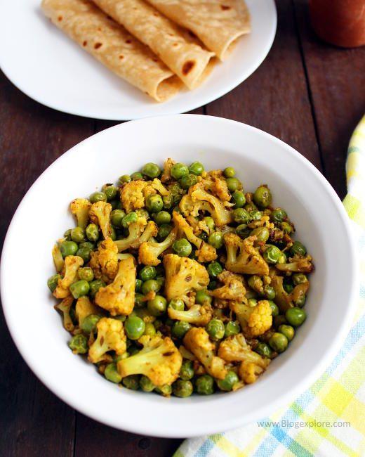 gobi matar recipe, gobi matar ki sabzi, indian cauliflower peas dry curry recipe