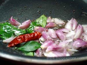 adding shallots for radish greens stir fry