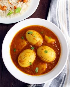 bengali egg curry recipe, dimer jhol, aloo dimer dalna recipe