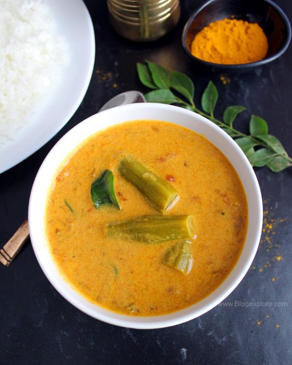 drumstick curry with coconut milk recipe, murungakkai curry with coconut milk