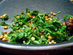 cilantro leaves sauteed for green coconut chutney