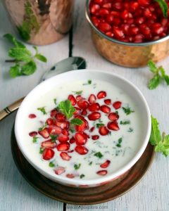 mint and pomegranate raita recipe, pudina aur anar ka raita recipe