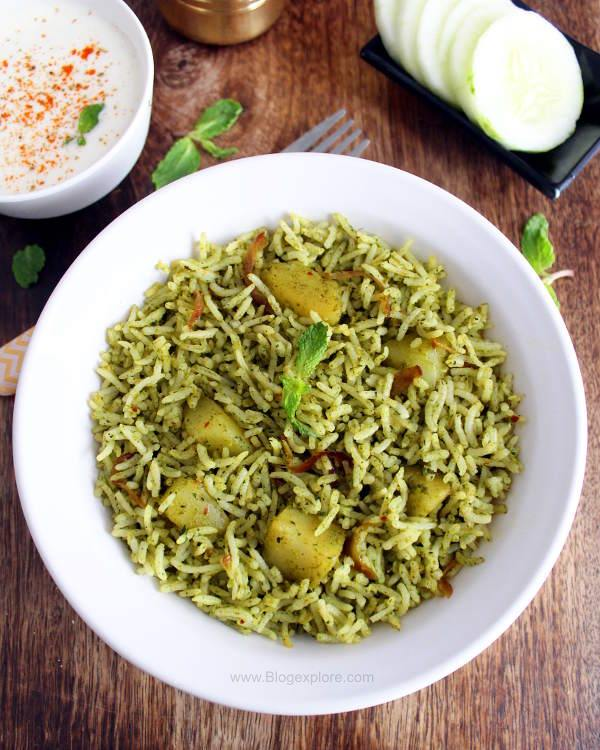 mint pulao recipe, pudina rice recipe, pudina pulao