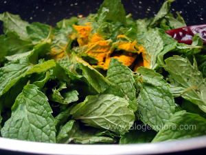frying pudina leaves for mint pulao