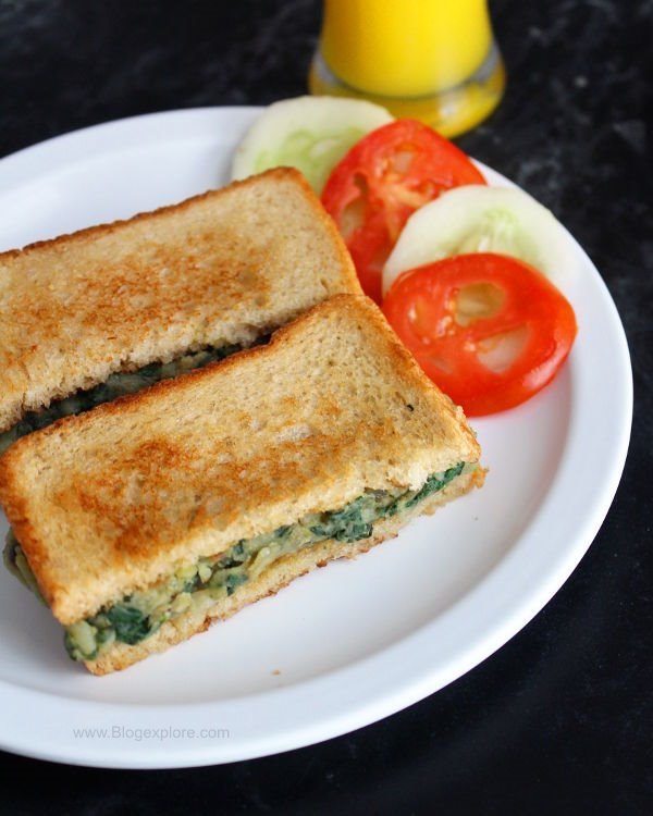spinach potato sandwich recipe, aloo palak sandwich recipe