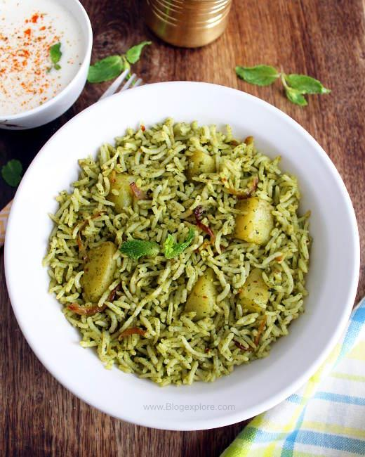 mint pulao recipe, pudina rice recipe, mint rice pulao