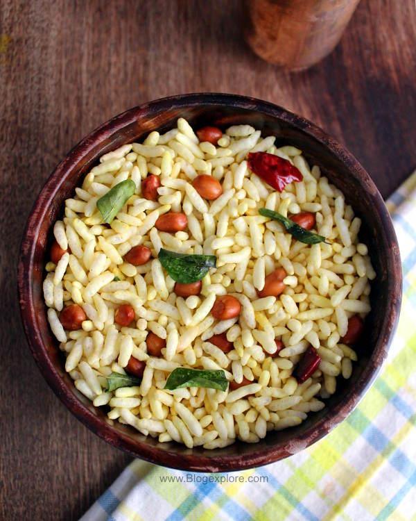 masala pori recipe, spicy puffed rice recipe, south indian kara pori