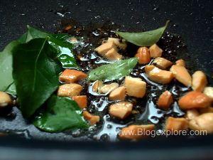 frying cashew nuta for pepper sevai
