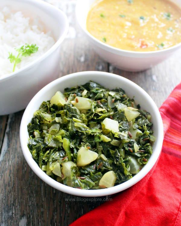 mooli ki sabzi recipe, mooli ki bhurji, north indian radish stir fry with radish greens recipe