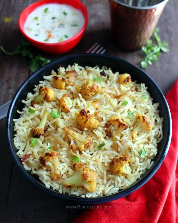 cauliflower pulao recipe, gobi pulao recipe, cauliflower rice pulao