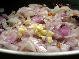 adding onions for curry leaves chutney
