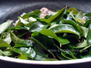 adding karuveppilai for curry leaves chutney