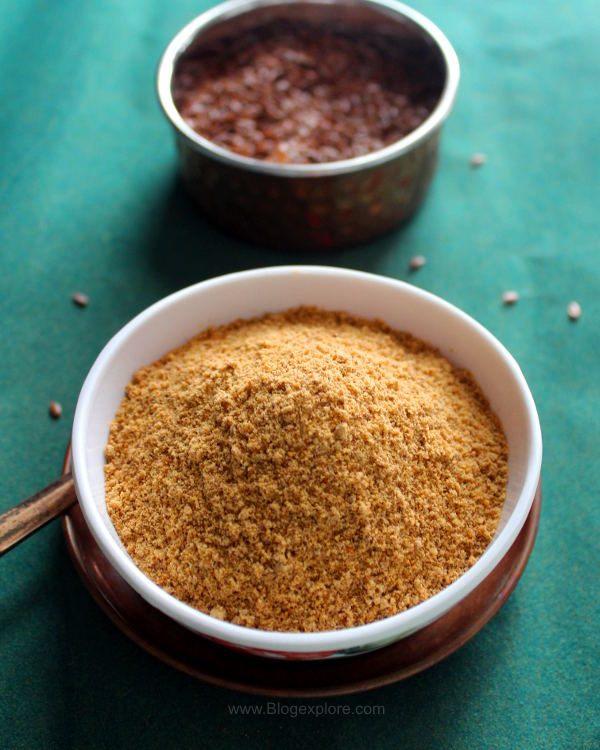 flax seeds podi recipe, flax seeds chutney powder, agasi powder