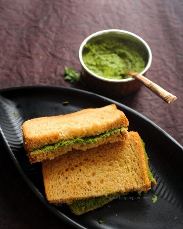 chutney sandwich recipe, coriander coconut chutney sandwich