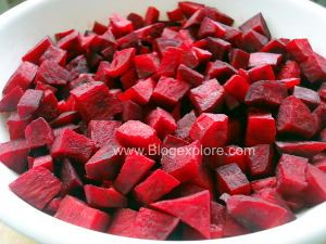 chopped beets for beetroot curry