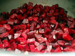 adding beet for dry beetroot curry