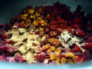 adding spices for beetroot curry