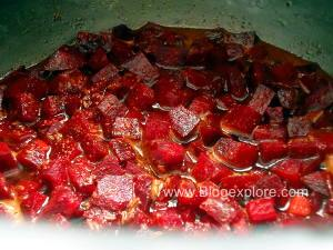 adding water to pressure cook for beetroot curry