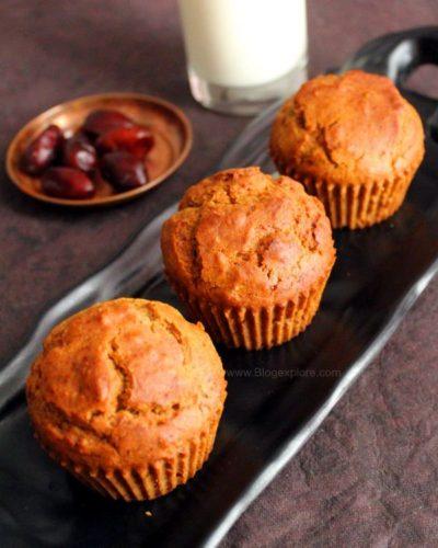 Eggless Dates Muffins Recipe | Whole Wheat Dates Muffins